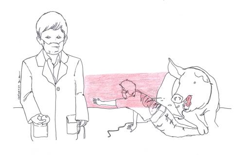 """Cartaz pendurado nos corredores do colégio para incentivar a prevenção da gripe suína. """"Apesar da pandêmia estar controlada, optamos por deixar a propaganda: não podemos deixar de ter medo do perigo"""", conta o diretor"""